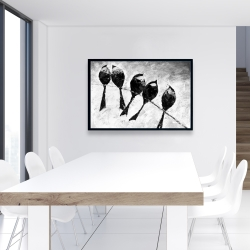 Framed 24 x 36 - Five birds perched