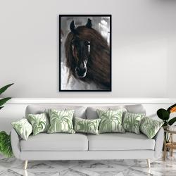 Framed 24 x 36 - Dark brown horse