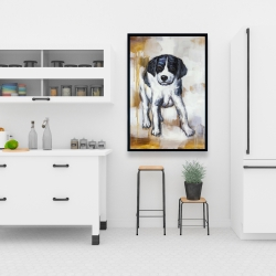 Framed 24 x 36 - Curious puppy dog