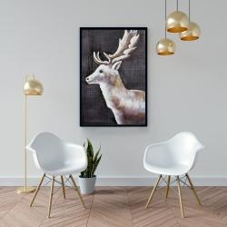 Framed 24 x 36 - Deer profile view in the dark
