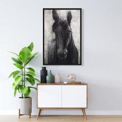 Framed 24 x 36 - Black horse