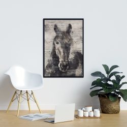 Framed 24 x 36 - Abstract horse with typography