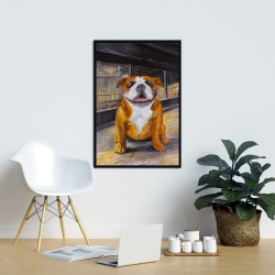 Framed 24 x 36 - Smiling bulldog