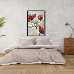 Framed 24 x 36 - Abstract red and white flowers