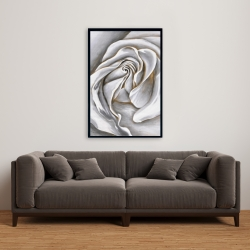 Framed 24 x 36 - White rose delicate