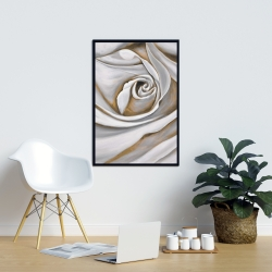 Framed 24 x 36 - White rose closeup