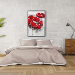 Framed 24 x 36 - Abstract and texturized red flowers