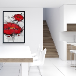 Framed 24 x 36 - Texturized red poppies