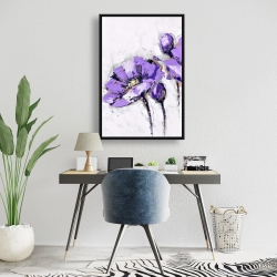 Framed 24 x 36 - Purple abstract flowers