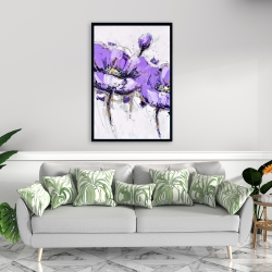 Framed 24 x 36 - Purple anemone flowers
