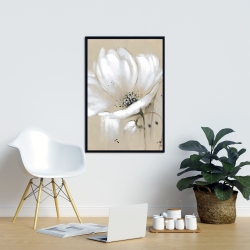 Framed 24 x 36 - White abstract wild flower