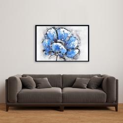 Framed 24 x 36 - Abstract blue petals