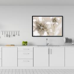 Framed 24 x 36 - Two cream flowers