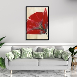 Framed 24 x 36 - Three red flowers