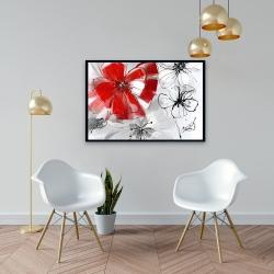 Framed 24 x 36 - Red & gray flowers