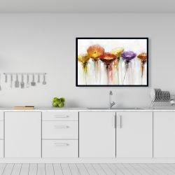 Framed 24 x 36 - Multiple colorful abstract flowers