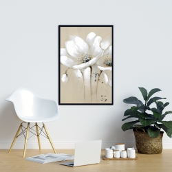 Framed 24 x 36 - White abstract wild flowers