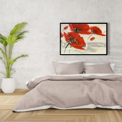 Framed 24 x 36 - Abstract red flowers in the wind