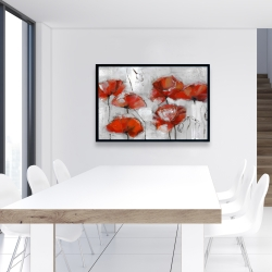Framed 24 x 36 - Abstract poppies