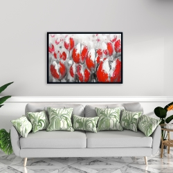 Framed 24 x 36 - Abstract red tulips