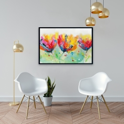 Framed 24 x 36 - Four colorful flowers