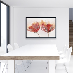 Framed 24 x 36 - Crimson flowers and butterfly