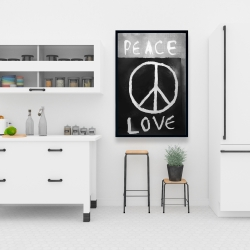 Framed 24 x 36 - Peace love monochrome