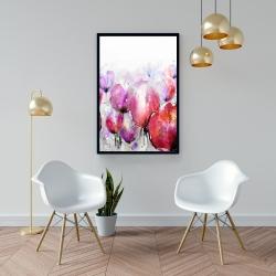 Framed 24 x 36 - Pink tulips field