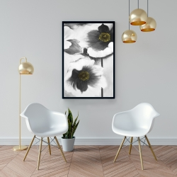 Framed 24 x 36 - Black and white flowers