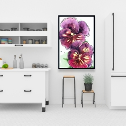 Framed 24 x 36 - Two blossoming orchid with wavy petals