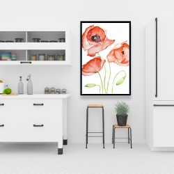 Framed 24 x 36 - Watercolor poppies