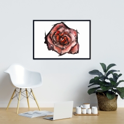 Framed 24 x 36 - Watercolor rose