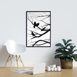 Framed 24 x 36 - Birds and branches silhouette