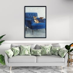 Framed 24 x 36 - Chihuahua on a blue armchair