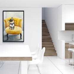 Framed 24 x 36 - Long-haired chihuahua on a yellow armchair