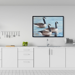 Framed 24 x 36 - Canada geese in water