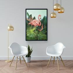 Framed 24 x 36 - Tropical flamingo