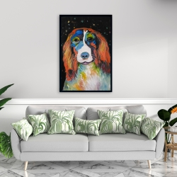 Framed 24 x 36 - Colorful dog