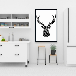 Framed 24 x 36 - Geometric deer head