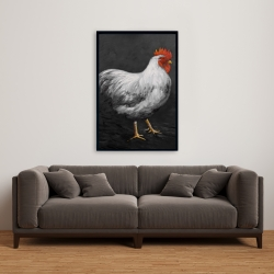 Framed 24 x 36 - Grey rooster 2