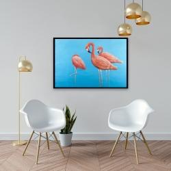 Framed 24 x 36 - Group of flamingos