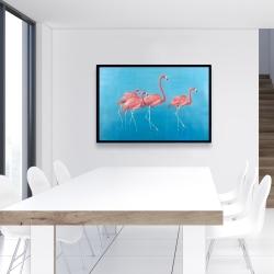 Framed 24 x 36 - Four flamingos