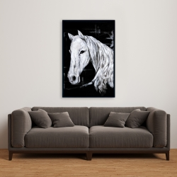 Framed 24 x 36 - Abstract horse profile view