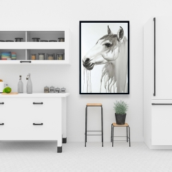 Framed 24 x 36 - Beautiful white horse