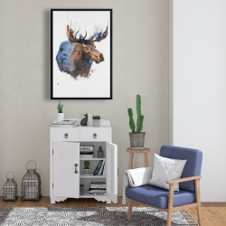 Framed 24 x 36 - Abstract blue moose