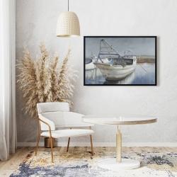 Framed 24 x 36 - Blue fishing boat