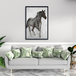 Framed 24 x 36 - Abstract brown horse
