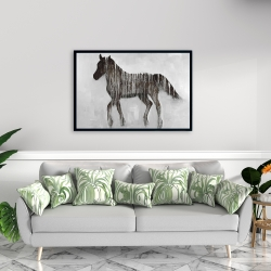 Framed 24 x 36 - Gambading abstract horse