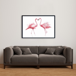 Framed 24 x 36 - Two pink flamingo watercolor