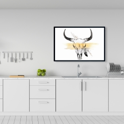 Framed 24 x 36 - Cow skull with feather